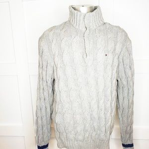 Men's Tommy Hilfiger Cable Knit Gray Sweater XL